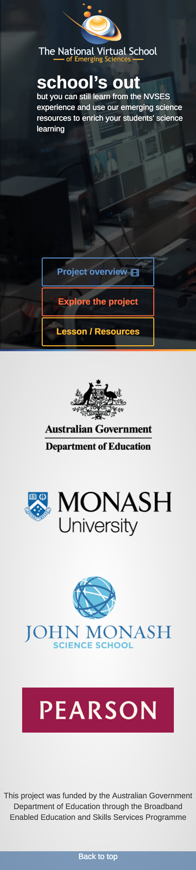 nvses.edu.au mobile screen shot